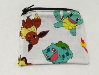 Coin Purse Made With Pokemon Fabric - White