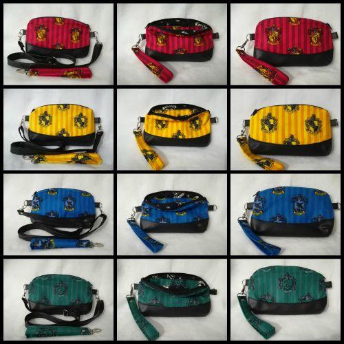 Crossbody / Clutch alernating handbag made with Harry Potter house fabric -
