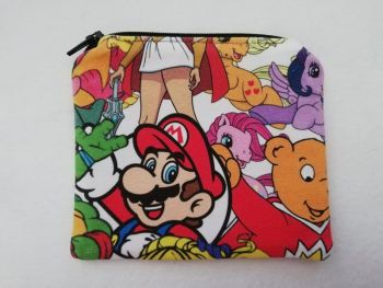Zipper Pouch Made with 80's mash up fabric