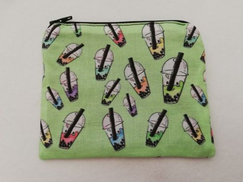 Zipper Pouch Made with Bubble Tea fabric