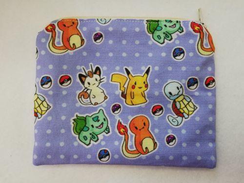 Zipper Pouch Made with Chibi Pokemon fabric