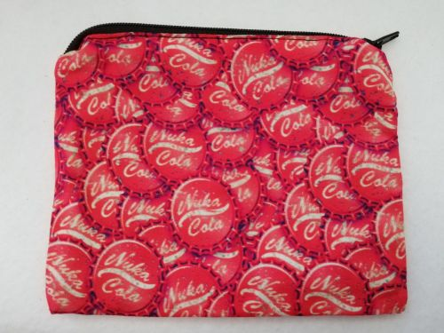 Zipper Pouch Made with Fallout fabric - Bottlecaps