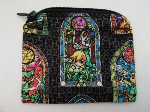 Zipper Pouch Made with The Legend Of Zelda fabric -  Windwaker black