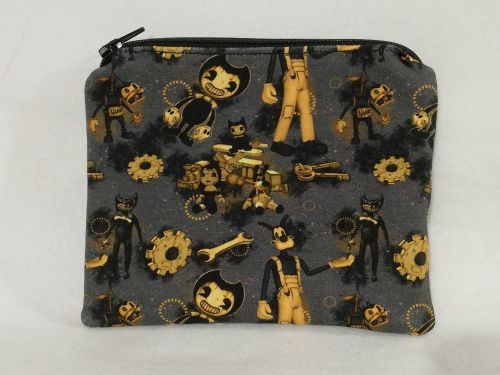Zipper Pouch Made with Bendy and the Ink Machine fabric
