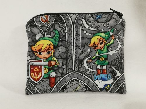 Zipper Pouch Made with The Legend Of Zelda fabric - Windwaker Grey