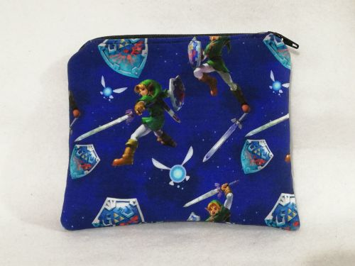 Zipper Pouch Made with The Legend Of Zelda fabric - Blue