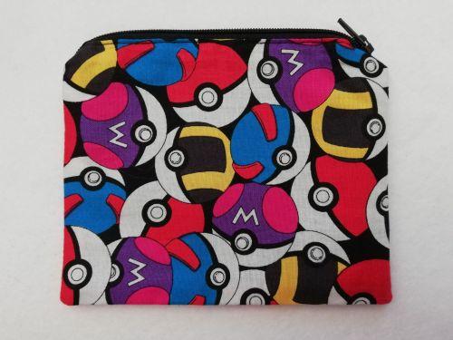 Zipper Pouch Made with Pokemon fabric - Pokeballs
