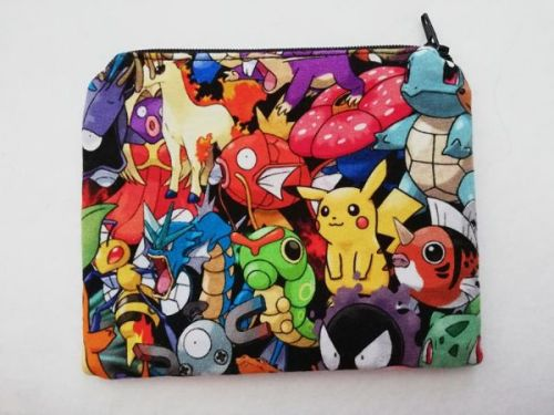 Zipper Pouch Made with Pokemon fabric - mega mashup