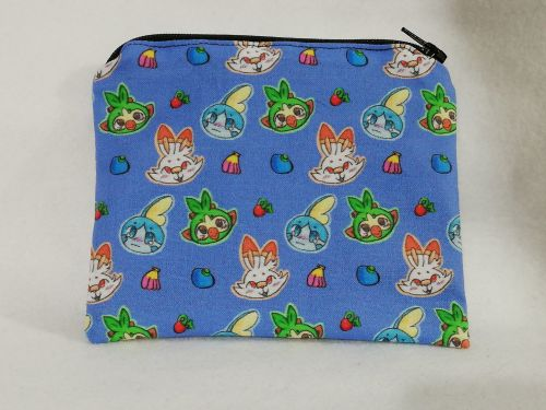 Zipper Pouch Made with Pokemon fabric - Galar Region Starters