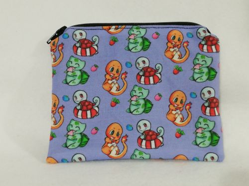 Zipper Pouch Made with Pokemon fabric - Kanto Region Starters