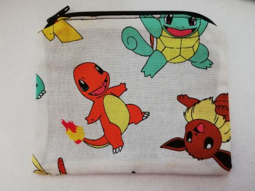 Zipper Pouch Made with Pokemon fabric - White