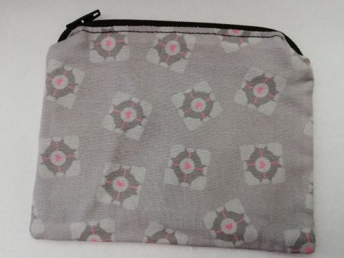 Zipper Pouch Made with Portal fabric - Companion Cubes