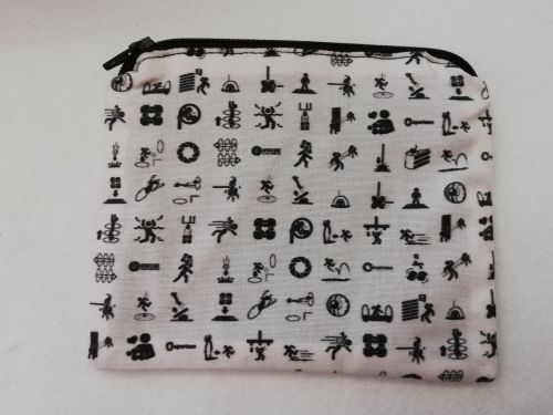 Zipper Pouch Made with Portal fabric - Aperture lab symbols