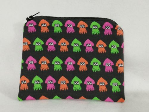 Zipper Pouch Made with Splatoon fabric - Squids
