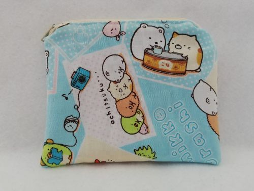Zipper Pouch Made with Sumikko Gurashi fabric - Blue