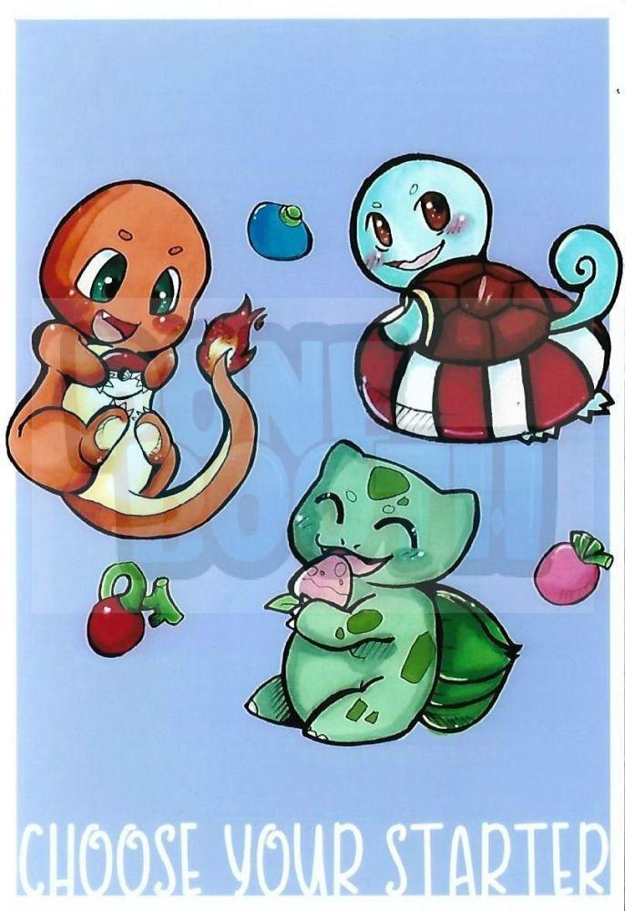 Pokemon Kanto Starters 6x4 Print