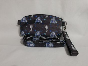 Clutch / crossbody bag made with Corpse Bride fabric