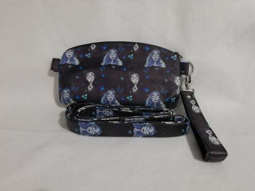 Clutch and crossbody bag made with Corpse Bride fabric