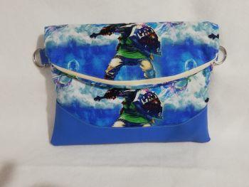 "Large "" Heidi "" foldover cross body bag made withThe Legend Of Zelda Skyward Sword fabric"