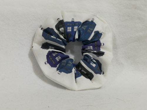 Scrunchie Made With TARDIS Fabric