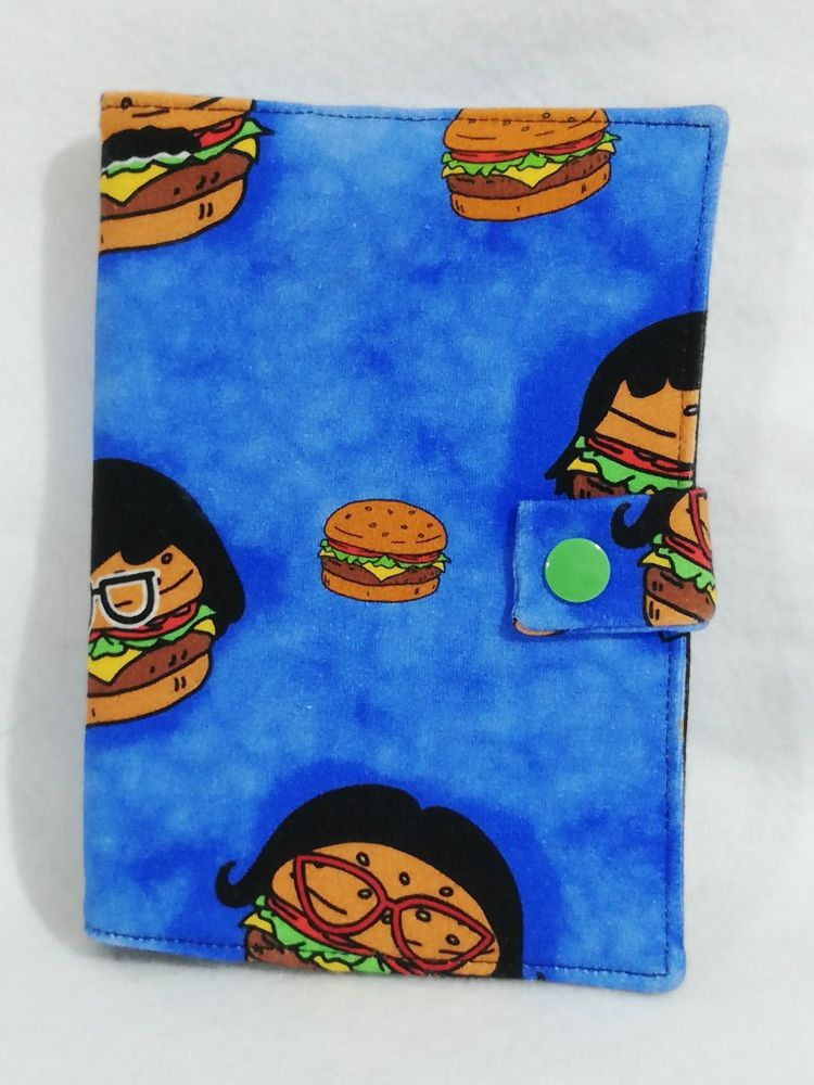 Notebook cover made with Bobs Burgers Fabric