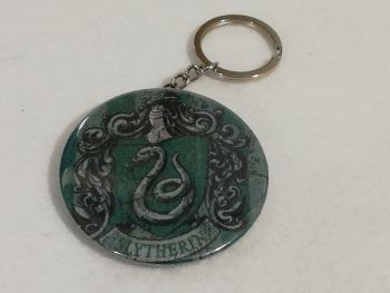 Keyring / Bottle opener made with Slytherin fabric