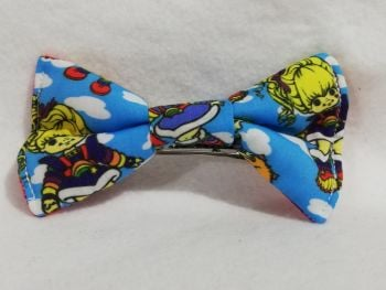Hair Bow Made With blue Rainbow Brite Fabric