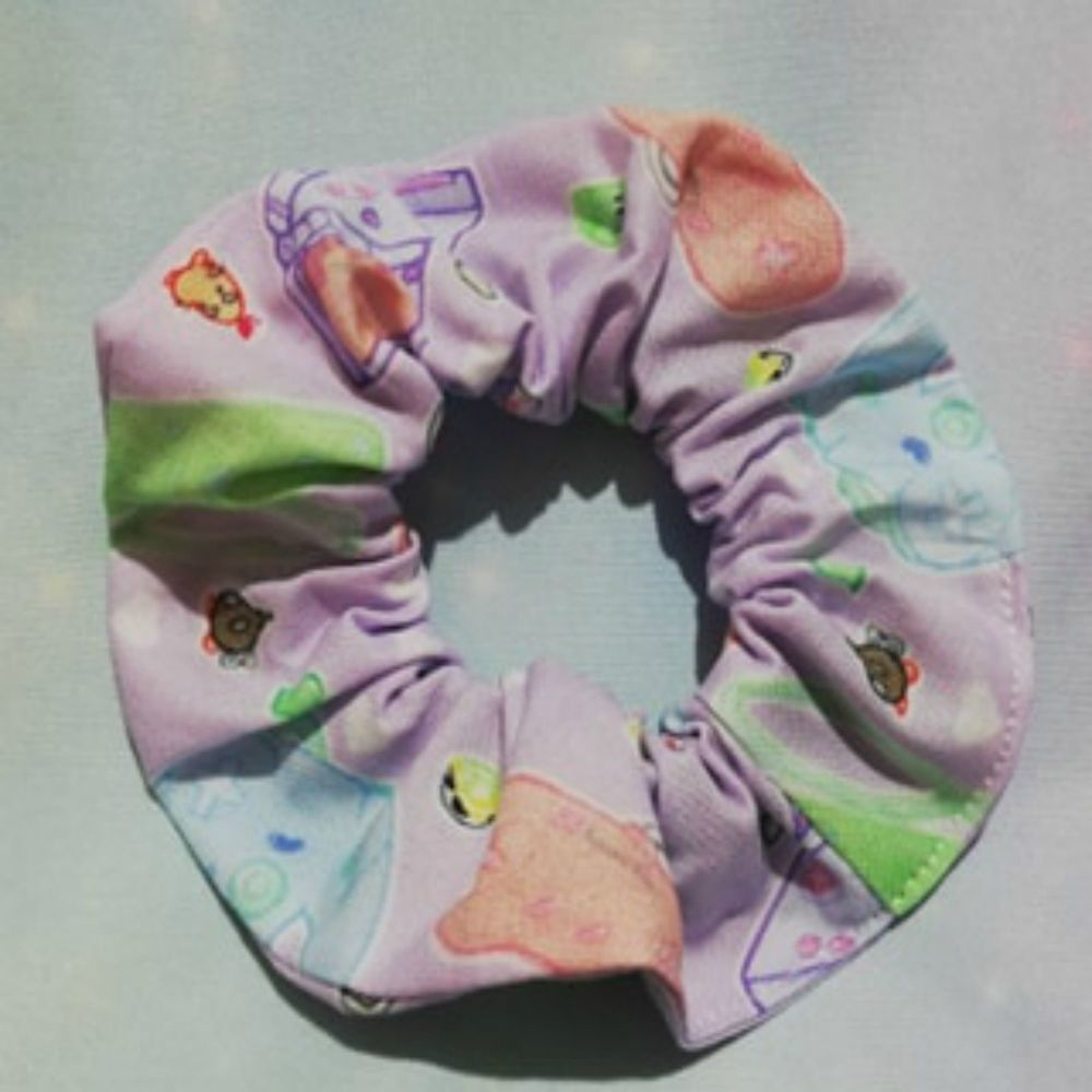 Scrunchie Made With Kawaii Controllers Fabric