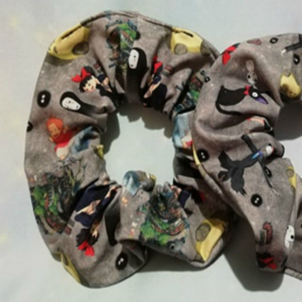 Scrunchie Made With Studio Ghibli Inspired Fabric