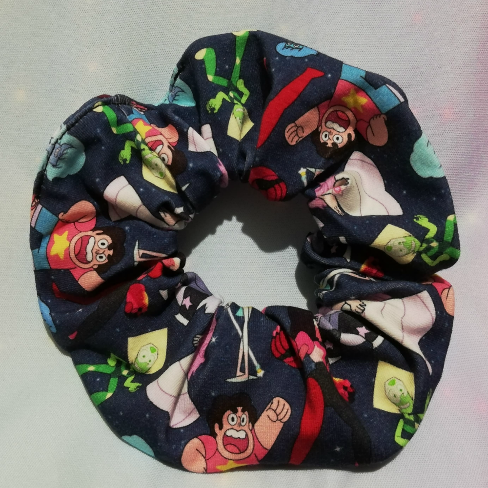 Scrunchie Made With Stephen universe Inspired Fabric - Navy
