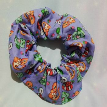 Scrunchie Made With Pokemon Inspired Fabric - Kanto Region Starters