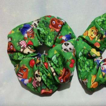 Scrunchie Made With Animal Crossing Inspired Fabric