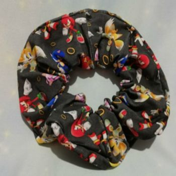 Scrunchie Made With Sonic The Hedgehog Inspired Fabric - Black