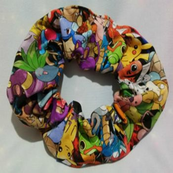 Scrunchie Made With Pokemon Inspired Fabric - Packed Pokemon