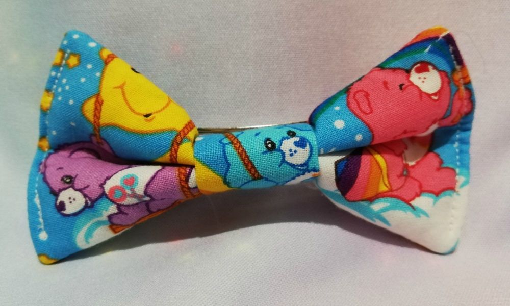 Hair Bow Made With Care Bear Inspired Fabric