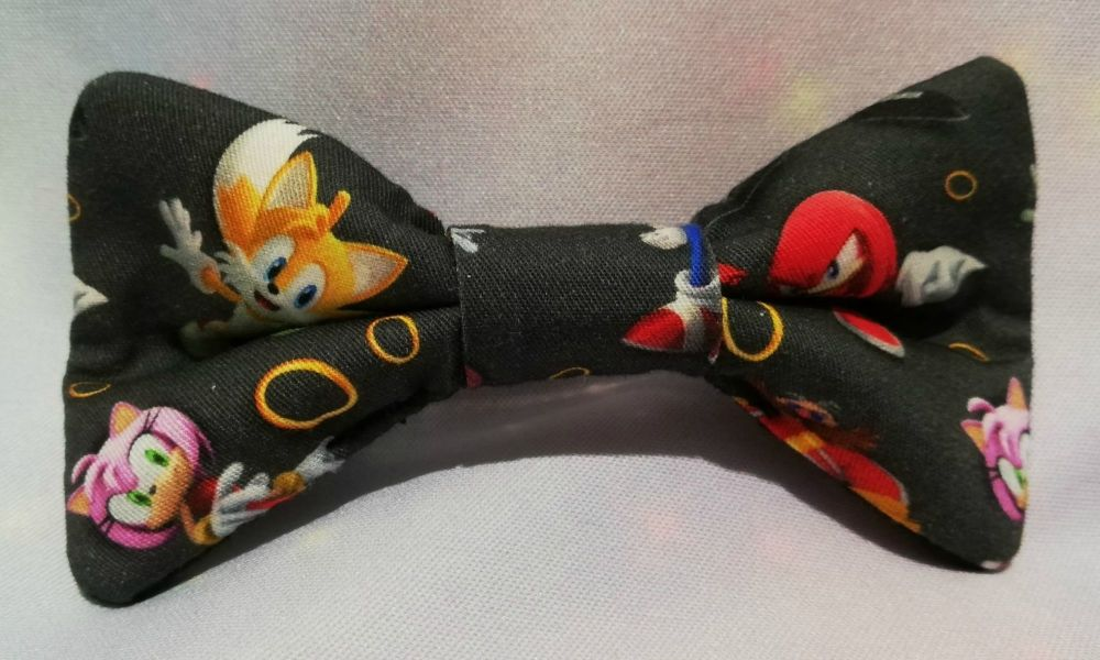 Hair Bow Made With Sonic The Hedgehog Inspired Fabric - Black