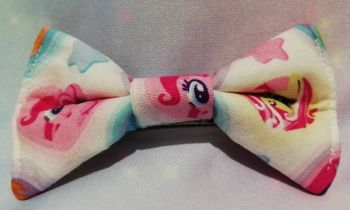Hair Bow Made With My Little Pony Fabric - White Hearts