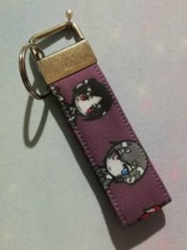Key Fob Made With Black Butler Inspired Fabric - Exclusive