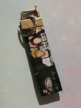 Key Fob Made With Black Butler Inspired Fabric - Mosaic
