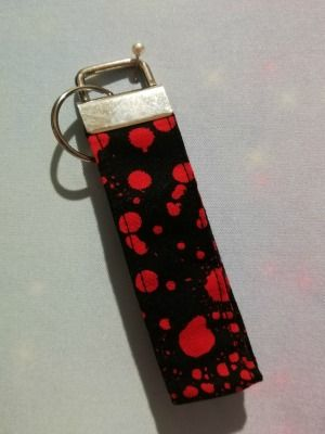 Key Fob Made With Blood Splatter Fabric