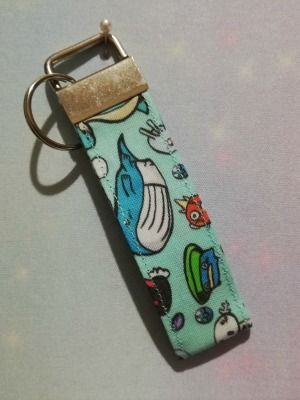 Key Fob Made With Water Pokemon Inspired Fabric - Exclusive