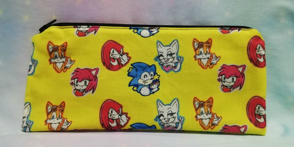 Pencil Case Made With Sonic The Hedgehog Inspired Fabric - Yellow