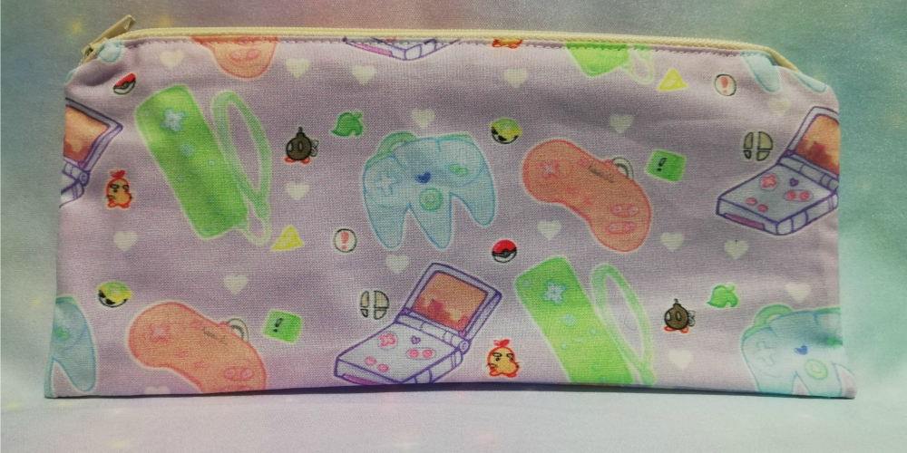 Pencil Case Made With Kawaii Controllers Fabric - Exclusive