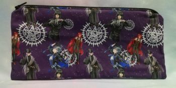 Pencil Case Made With Black Butler Inspired Fabric - Purple
