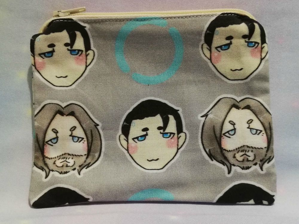 Zip Pouches Made With Large Scale Detroit Become Human Inspired Fabric - Ex