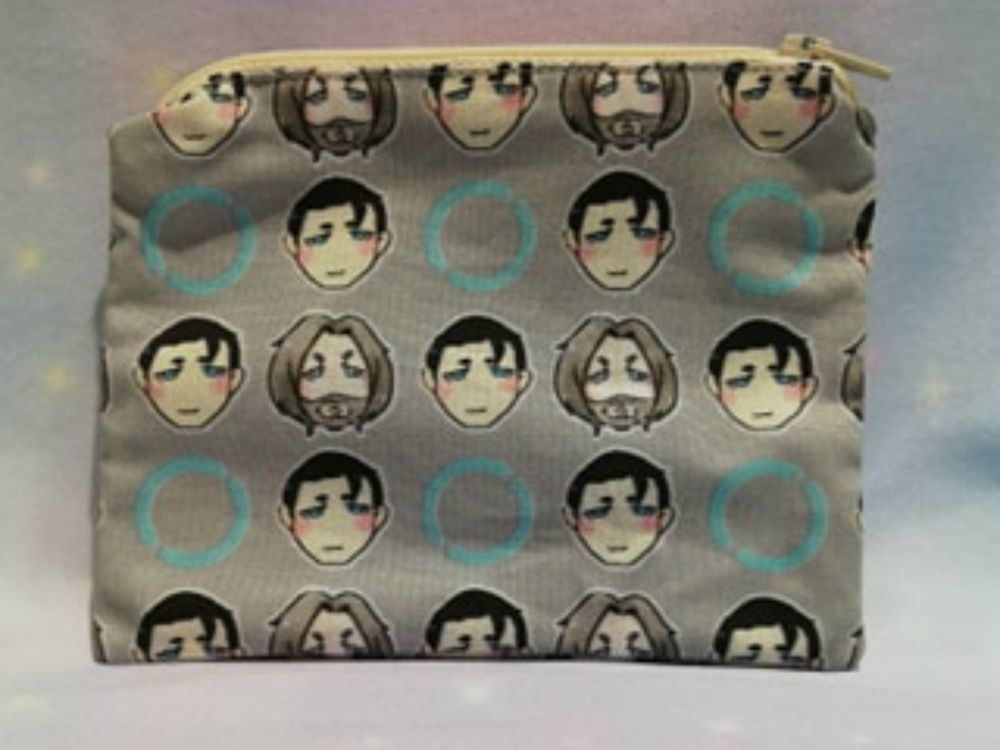 Zip Pouches Made With Small Scale Detroit Become Human Inspired Fabric - Ex
