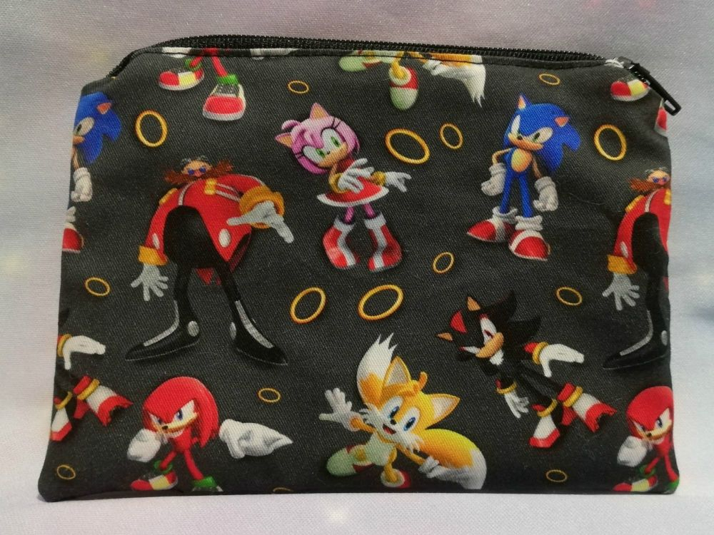 Zip Pouch Made With Sonic The Hedgehog Inspired Fabric - Black