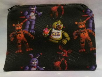 Zip Pouch Made With Small Scale Five Nights At Freddies Inspired Fabric