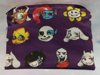 Zip Pouch Made With Undertale Inspired Fabric - Exclusive