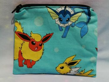 Zip Pouch Made With Eevee Evolutions Fabric - Turquoise